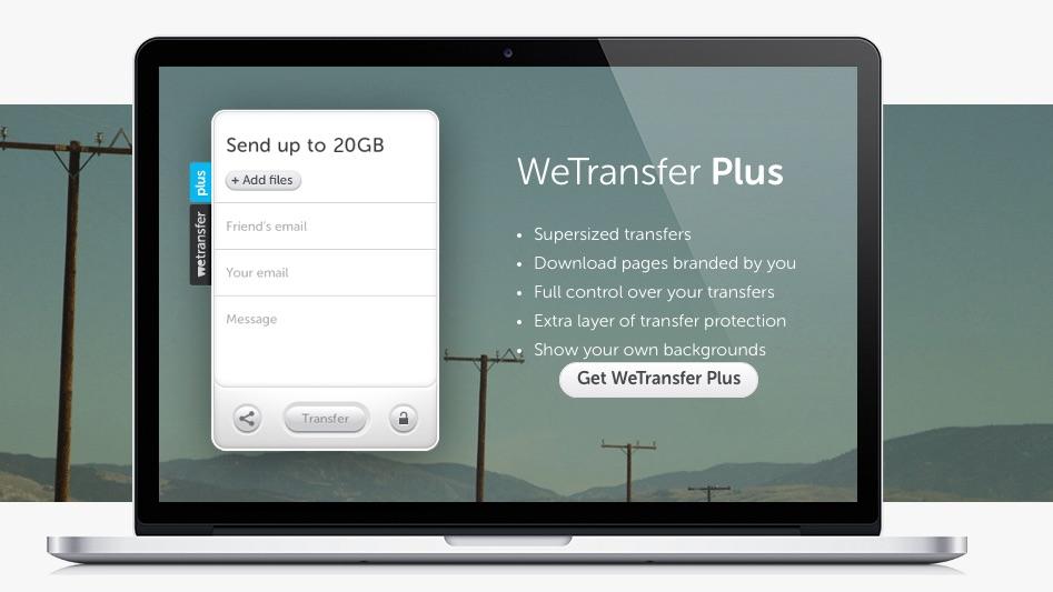 共享大型文件, 很容易通过互联网, 与 WeTransfer