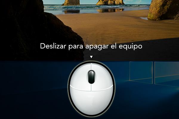 Como desligar o computador, deslizando o mouse, em Windows 10