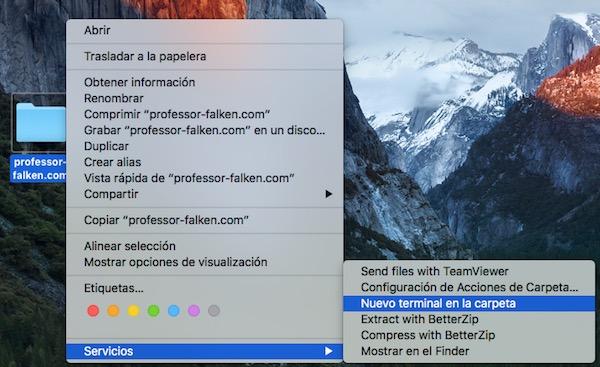 Come aprire una finestra di terminale da qualsiasi cartella sulla vostra tabella di ambiente Mac - Immagine 3 - Professor-falken.com