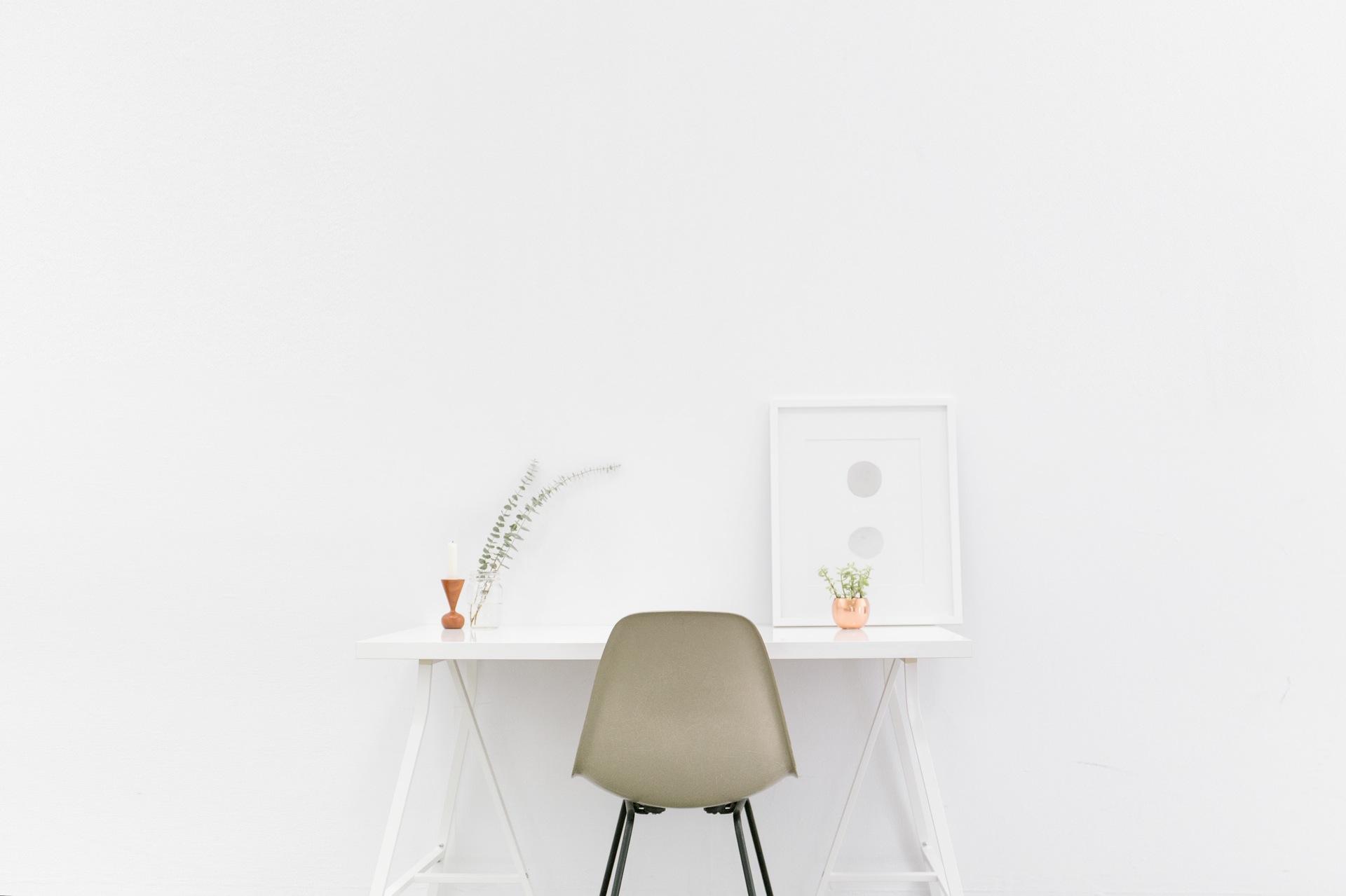 escritorio, habitación, oficina, silla, pared, blanco - Fondos de Pantalla HD - professor-falken.com