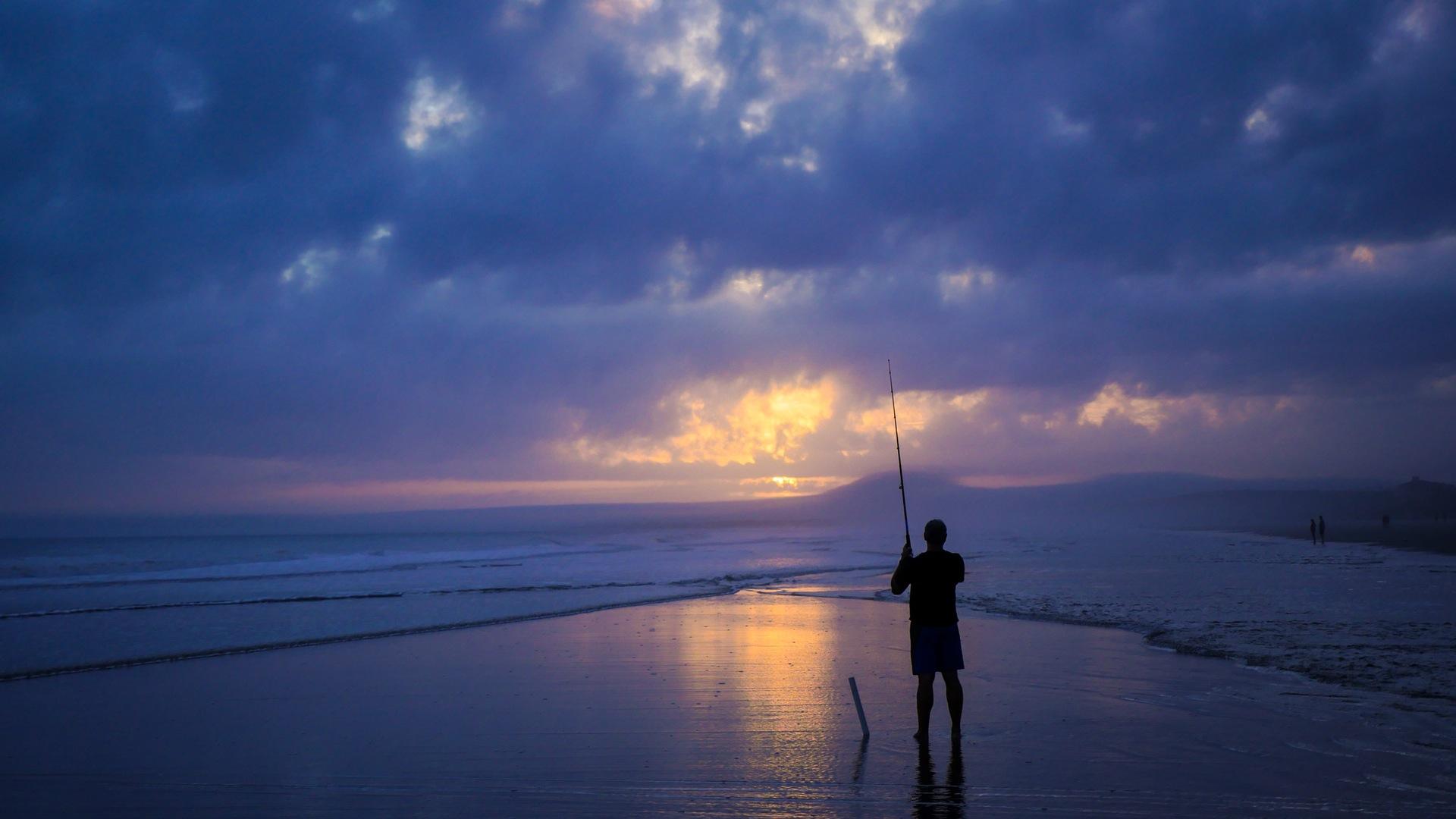 homem, pesca, Mar, Céu, nuvens - Papéis de parede HD - Professor-falken.com