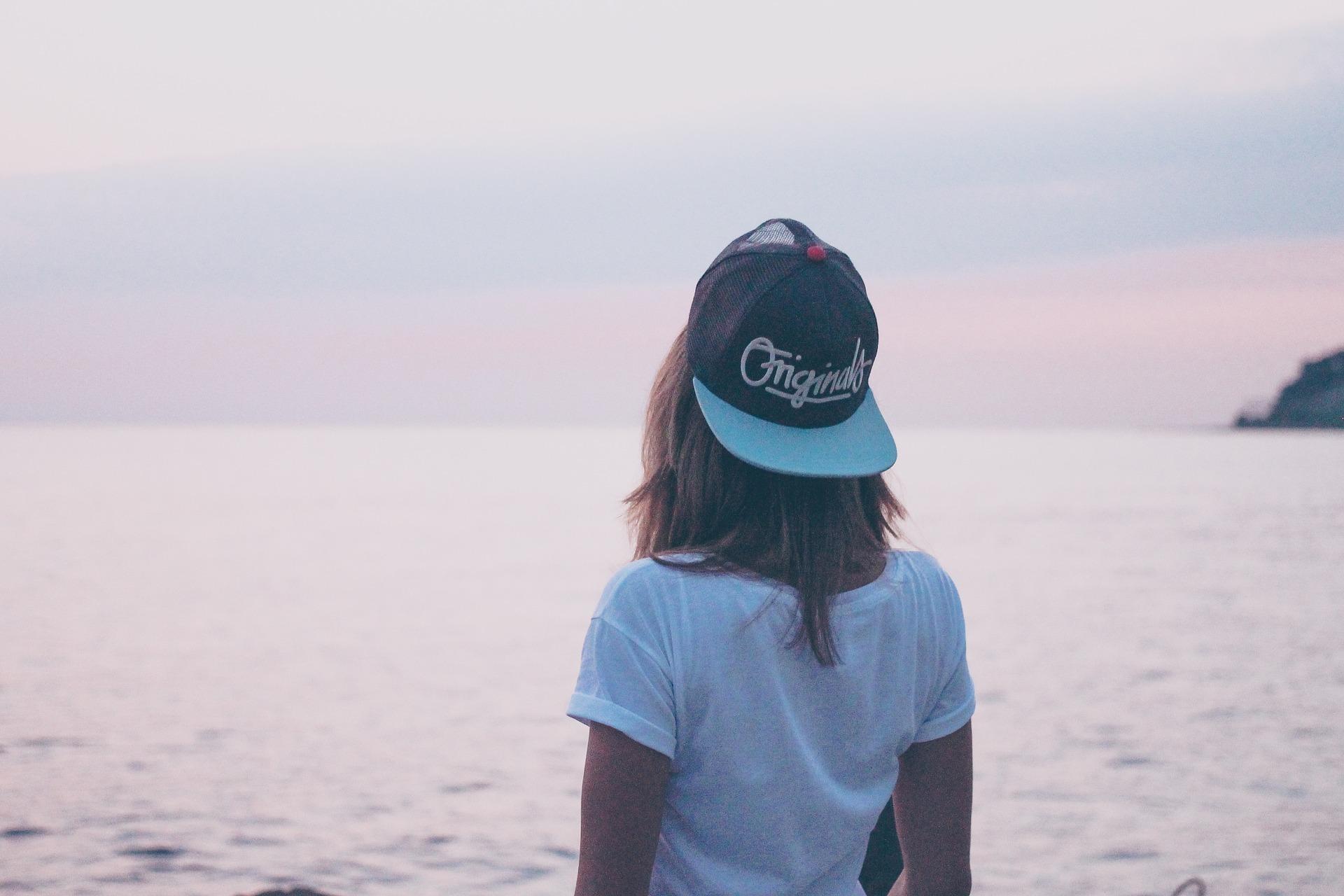 女人, 海, 帽, 水, 天空, 返回 - 高清壁纸 - 教授-falken.com