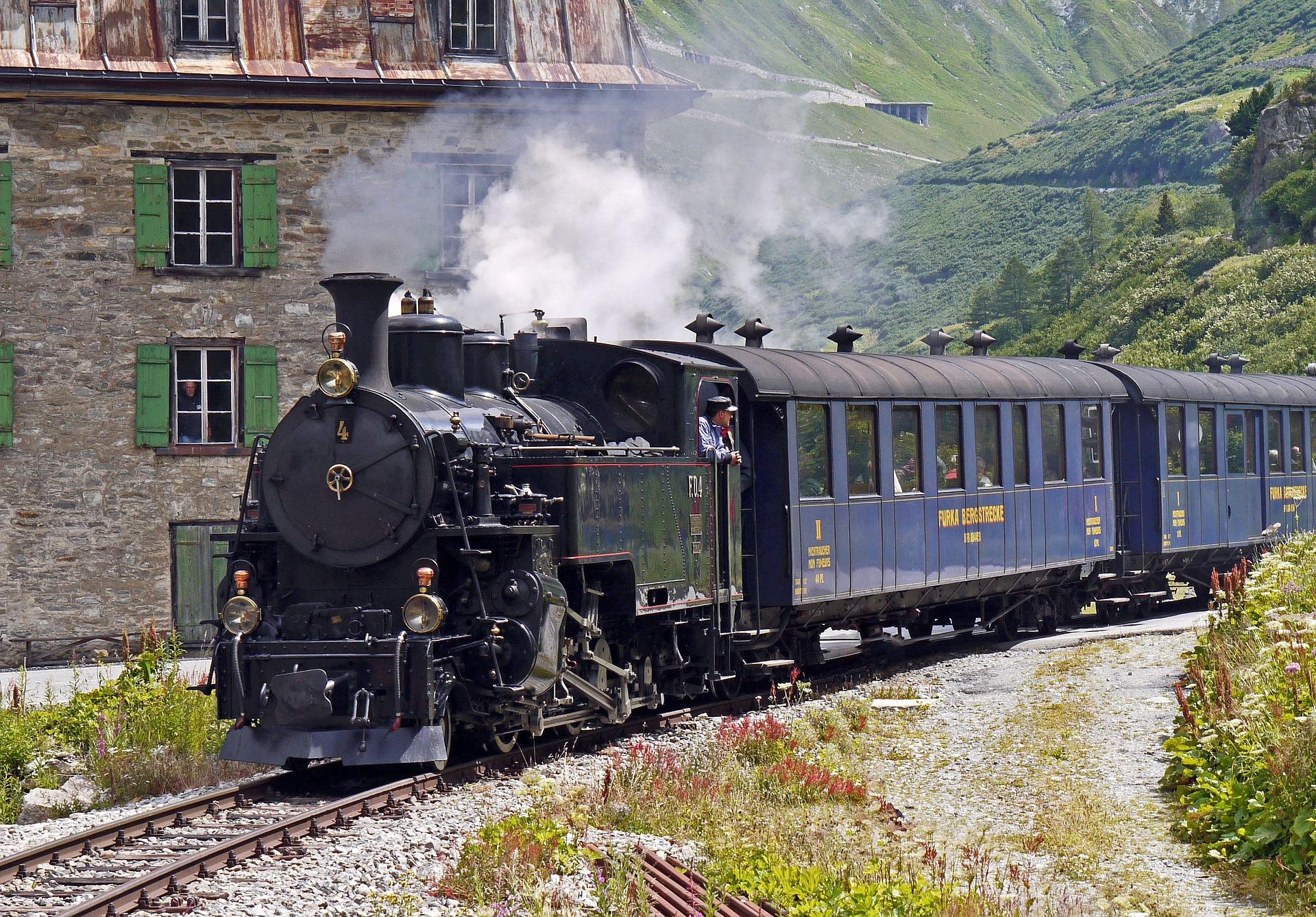 treno a vapore, treno, locomotiva, carri, Furka bahn, Alpi, Svizzera - Sfondi HD - Professor-falken.com