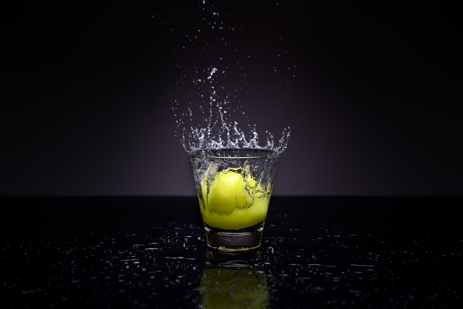 воды, стекло, Лимон, капли, всплеск - Обои HD - Профессор falken.com