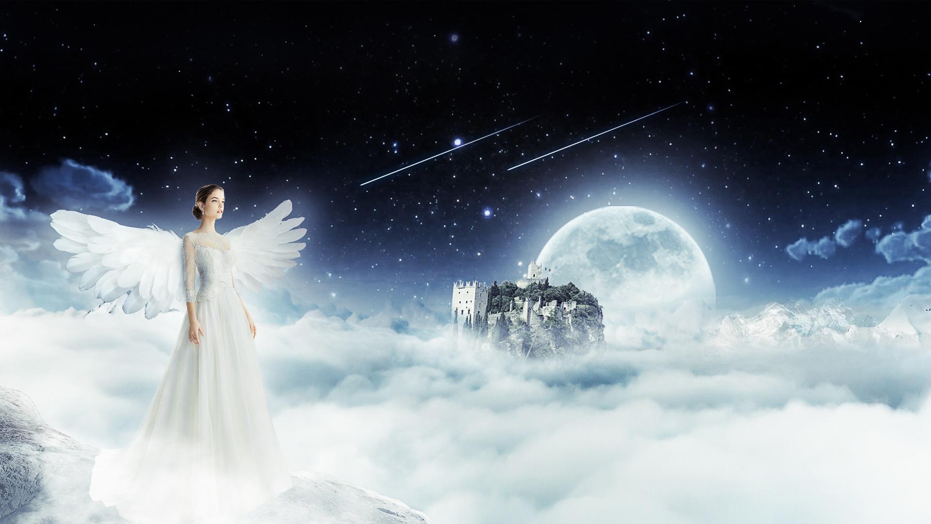 Angelo, donna, Cielo, nuvole, Luna - Sfondi HD - Professor-falken.com