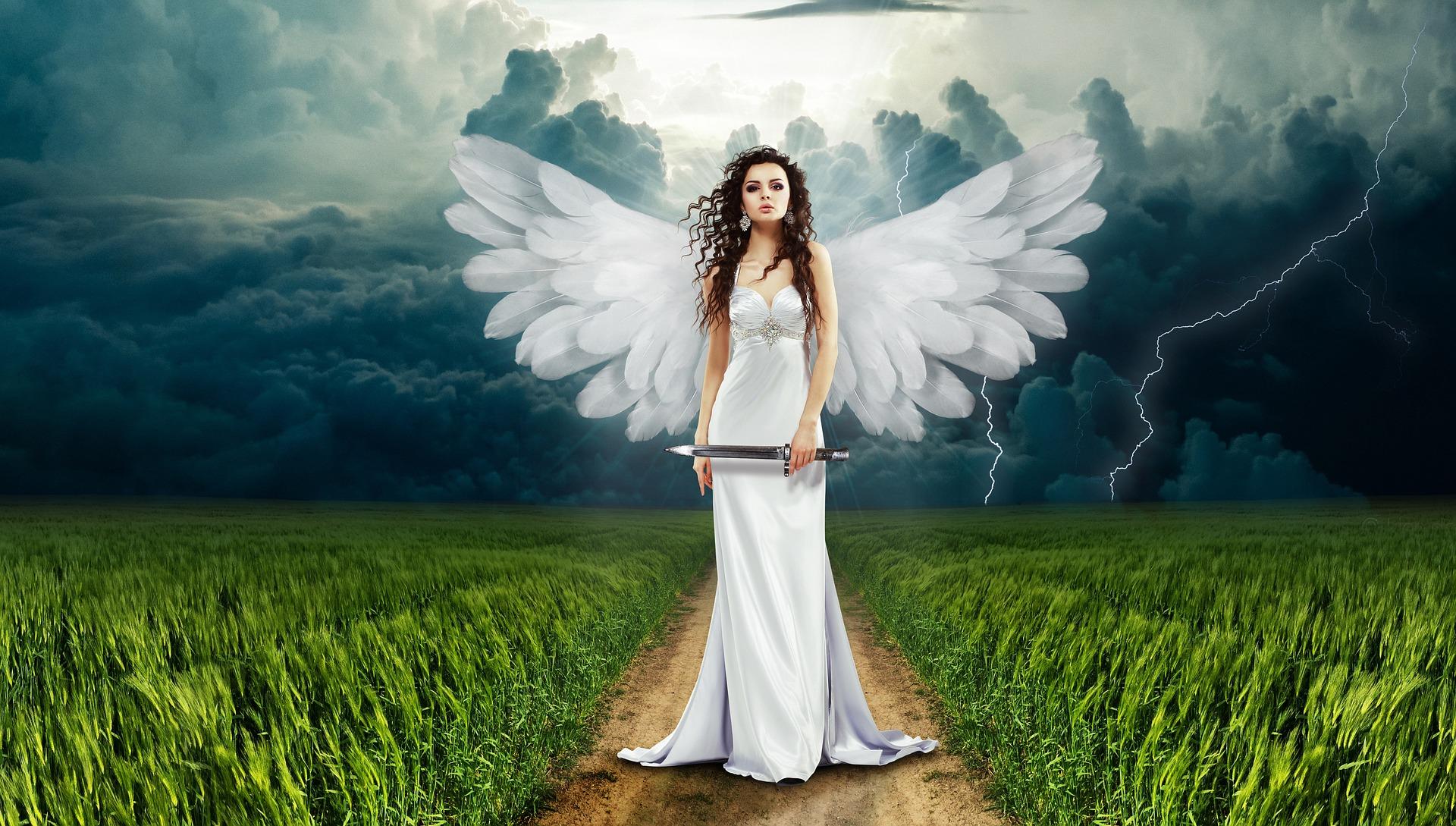 Anjo, mulher, punhal, asas, nuvens - Papéis de parede HD - Professor-falken.com