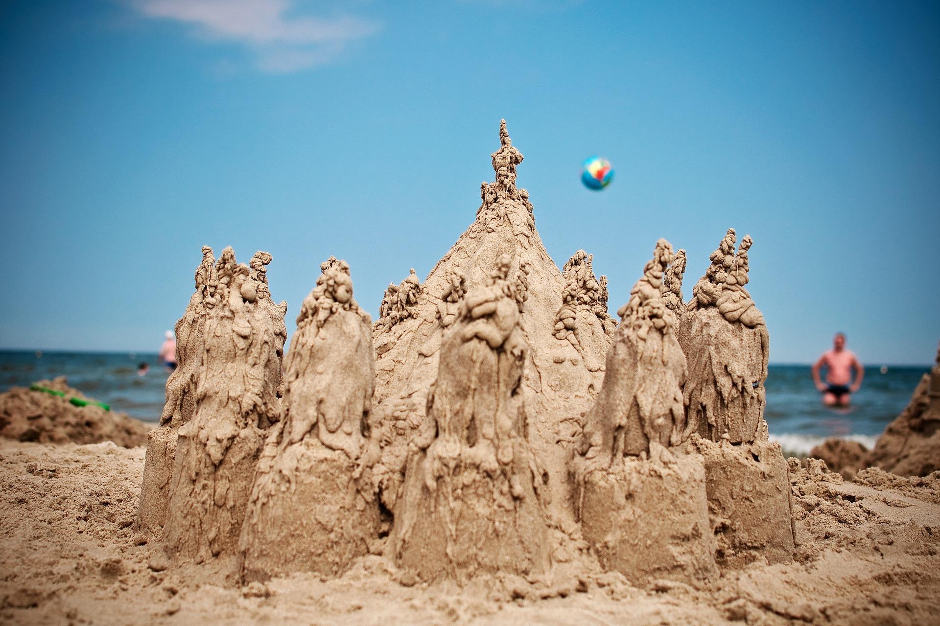 castillo de arena, playa, mar, agua, verano - Fondos de Pantalla HD - professor-falken.com