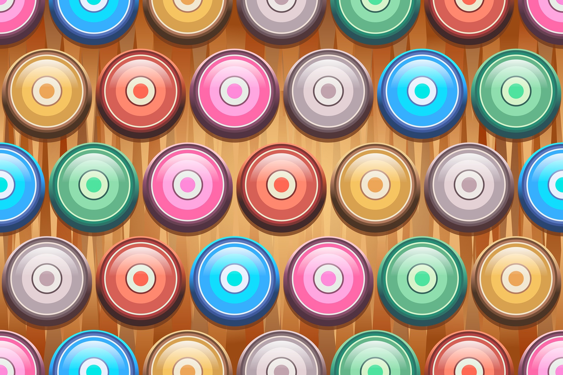 диски, круги, цвета, концентрические, Симметрия - Обои HD - Профессор falken.com