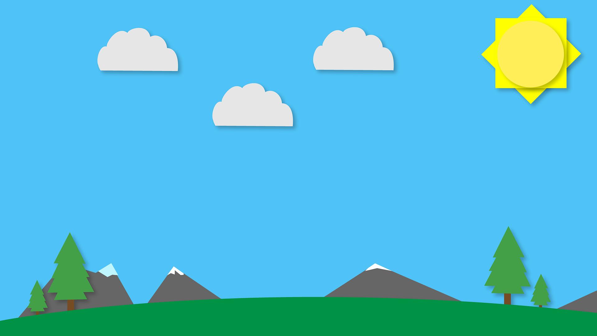diseño plano, Плоский дизайн, пейзаж, облака, Солнце, горы, Иллюстрация - Обои HD - Профессор falken.com