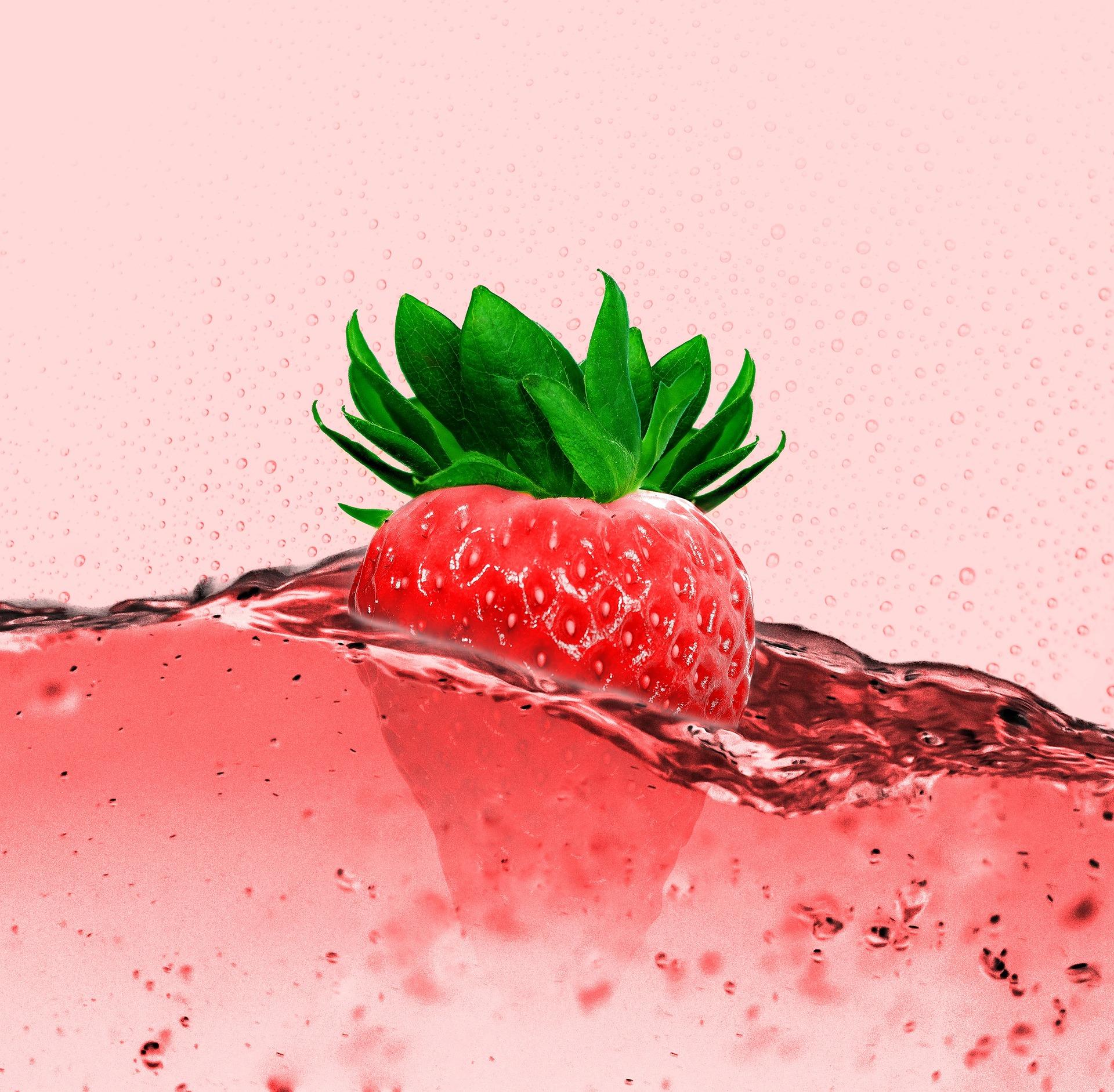 Fraise, jus de, boisson, fruits, bulles, Rouge - Fonds d'écran HD - Professor-falken.com