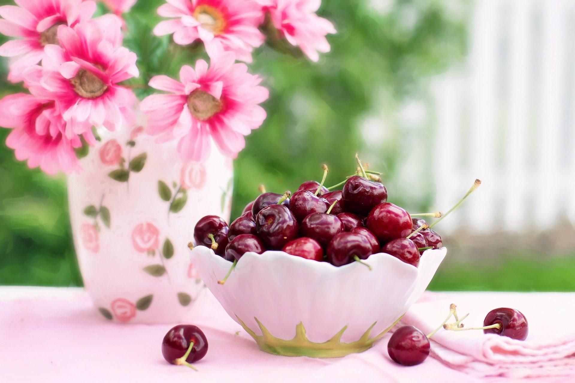 ciliegie, frutta, fiori, Ciotola, Rosa - Sfondi HD - Professor-falken.com