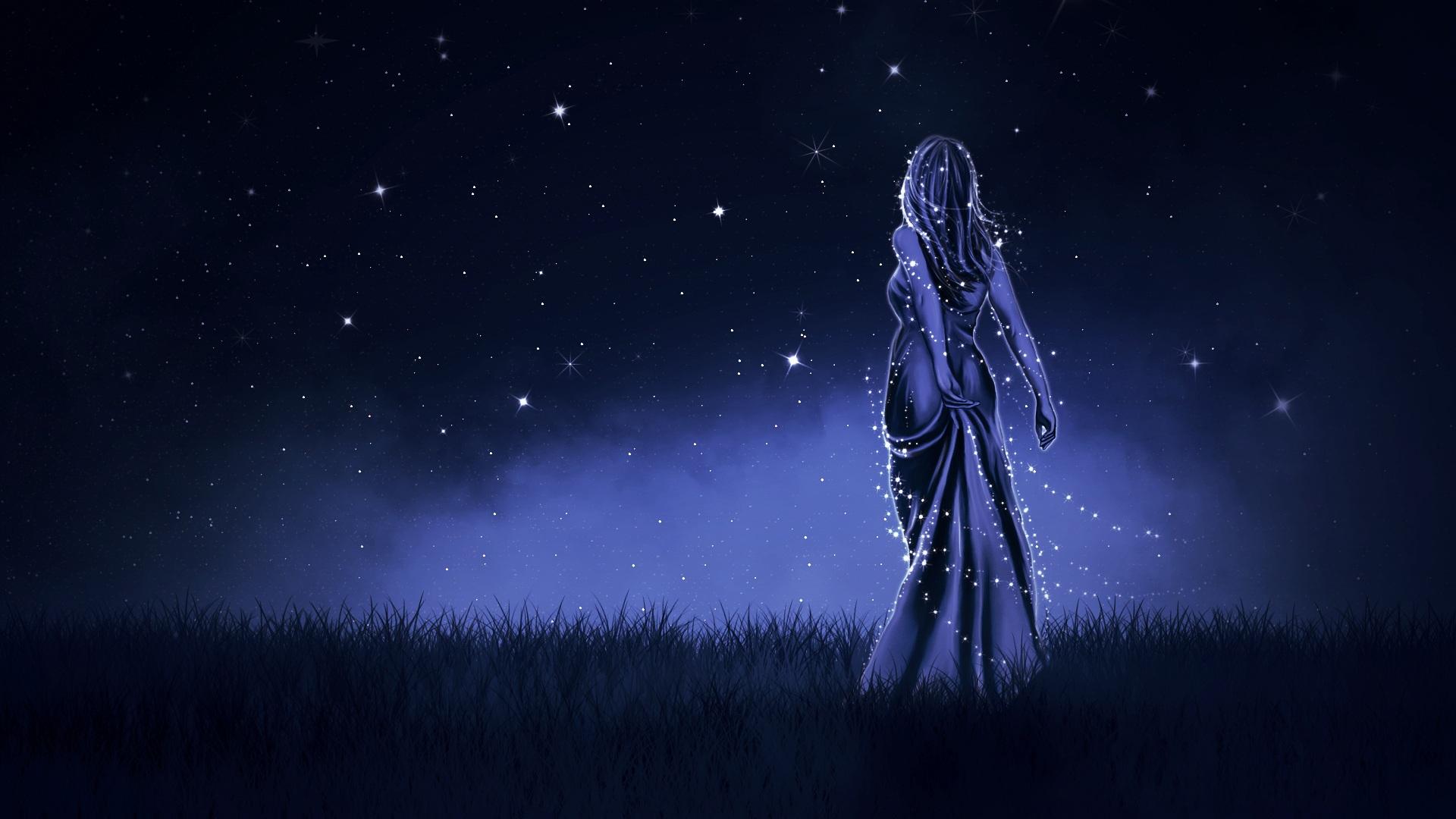 女の子, 夜, 空, つ星, ドレス - HD の壁紙 - 教授-falken.com