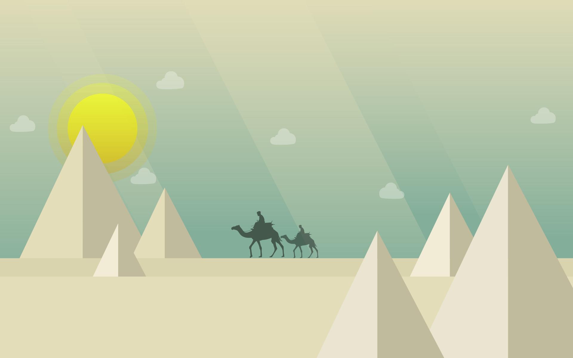 deserto, cammelli, Piramidi, Sole, nuvole - Sfondi HD - Professor-falken.com