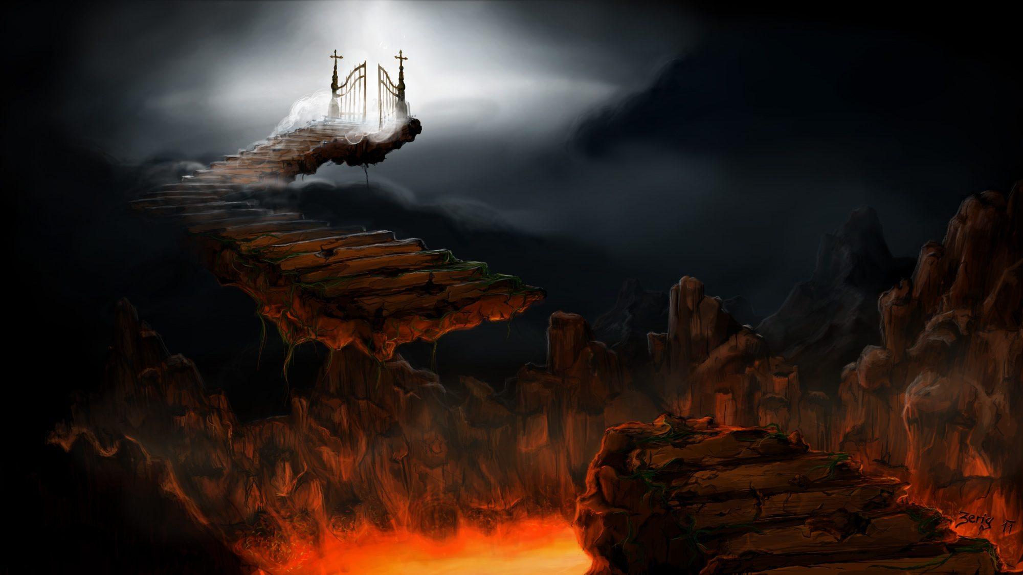 escaleras, cielo, infierno, puertas, camino - Fondos de Pantalla HD - professor-falken.com