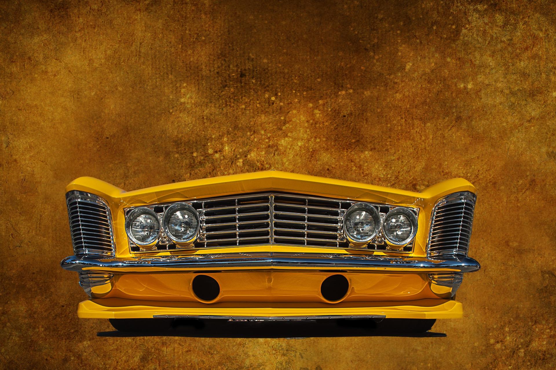 前端, 汽车, 经典, 年份, 黄色 - 高清壁纸 - 教授-falken.com