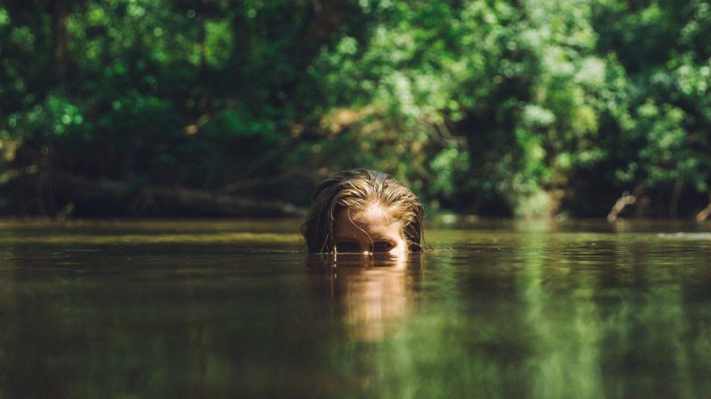 mujer, agua, lago, árboles, mirada, 1608281343