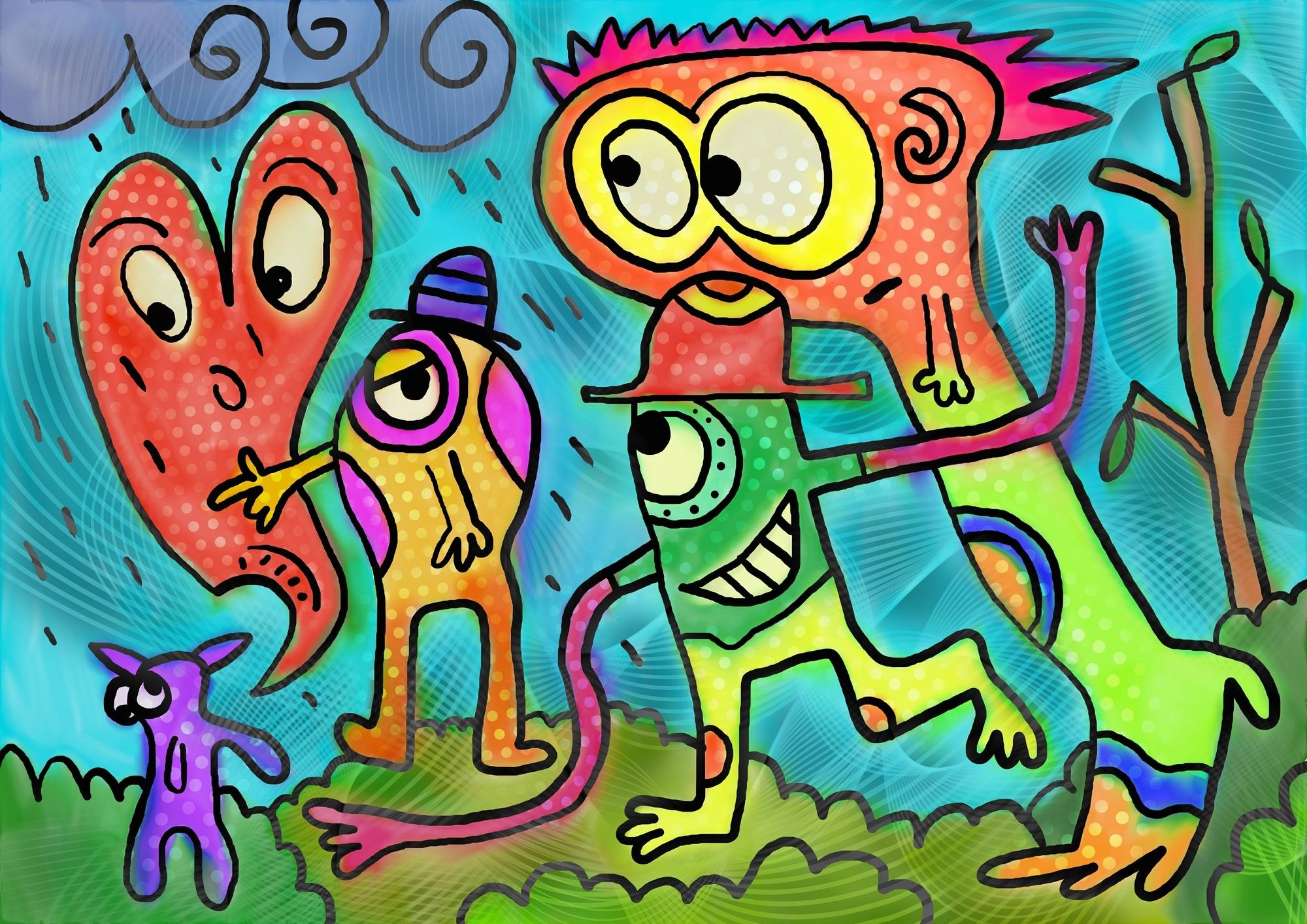 pintura, dibujo, monigotes, geeks, acuarela - Fondos de Pantalla HD - professor-falken.com