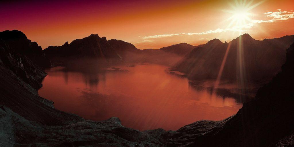 puesta, sol, lago, montañas, atardecer, 1608271244