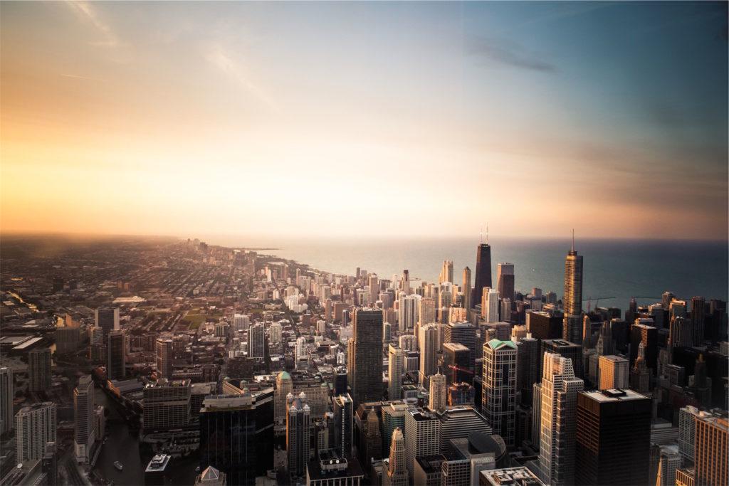 ciudad, amanecer, alba, mar, rascacielos, 1609252054