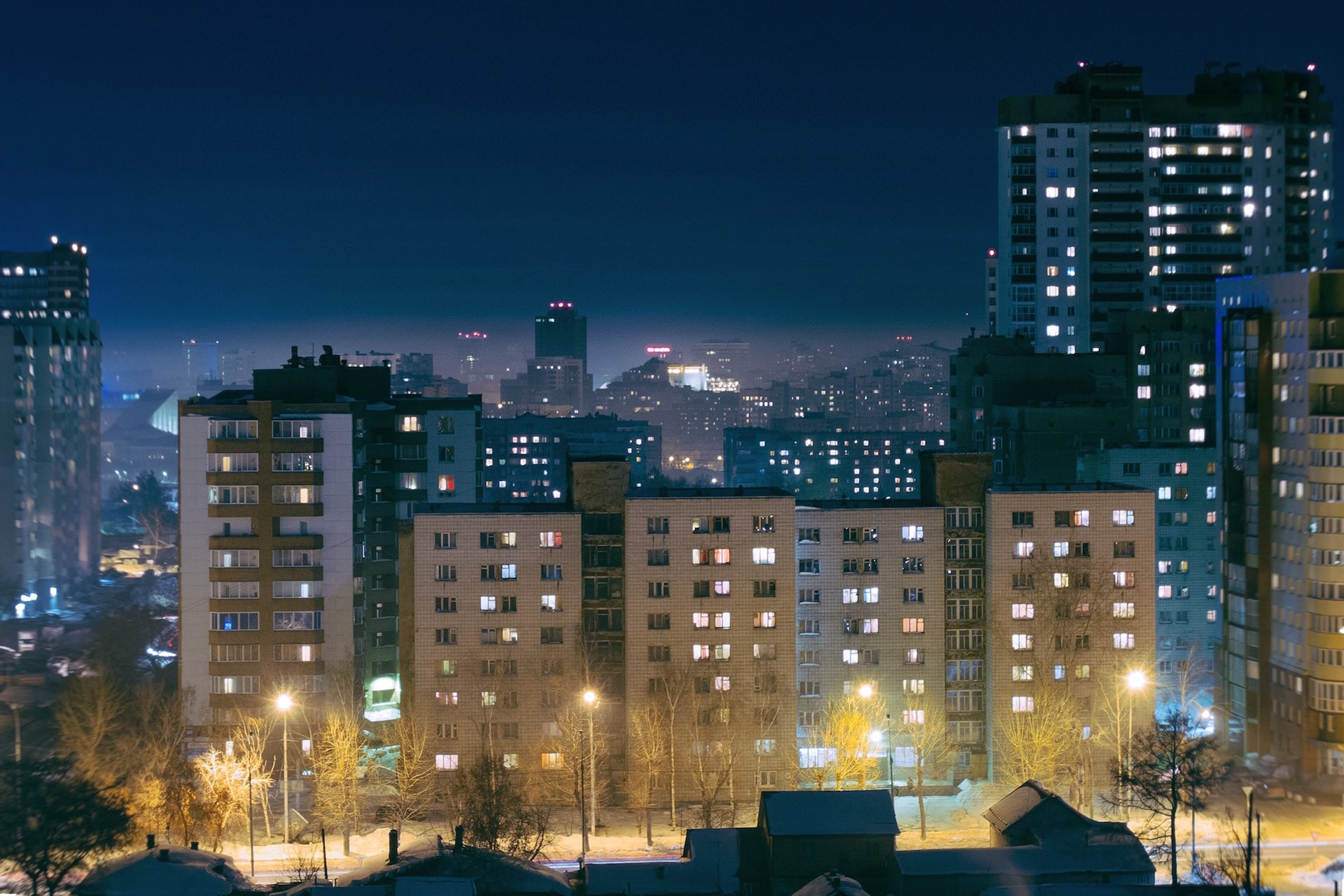 edifícios, à noite, Cidade, apartamentos, vidas - Papéis de parede HD - Professor-falken.com