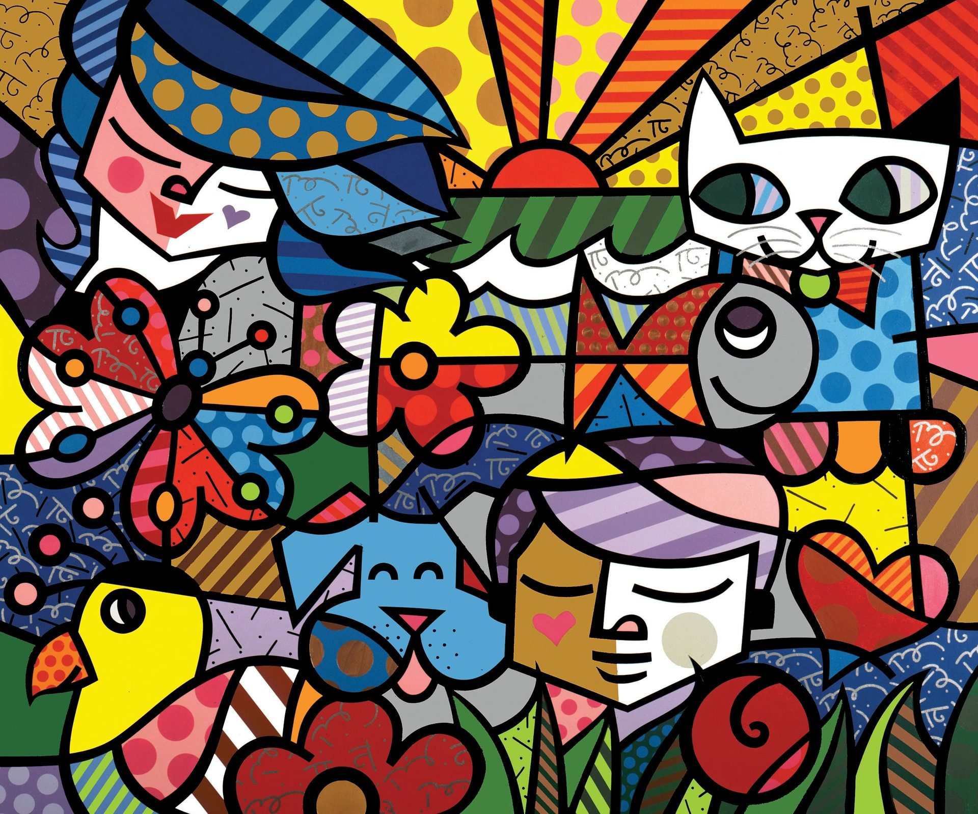 γάτα, σκύλος, mujeres, pez, πολύχρωμο - Wallpapers HD - Professor-falken.com