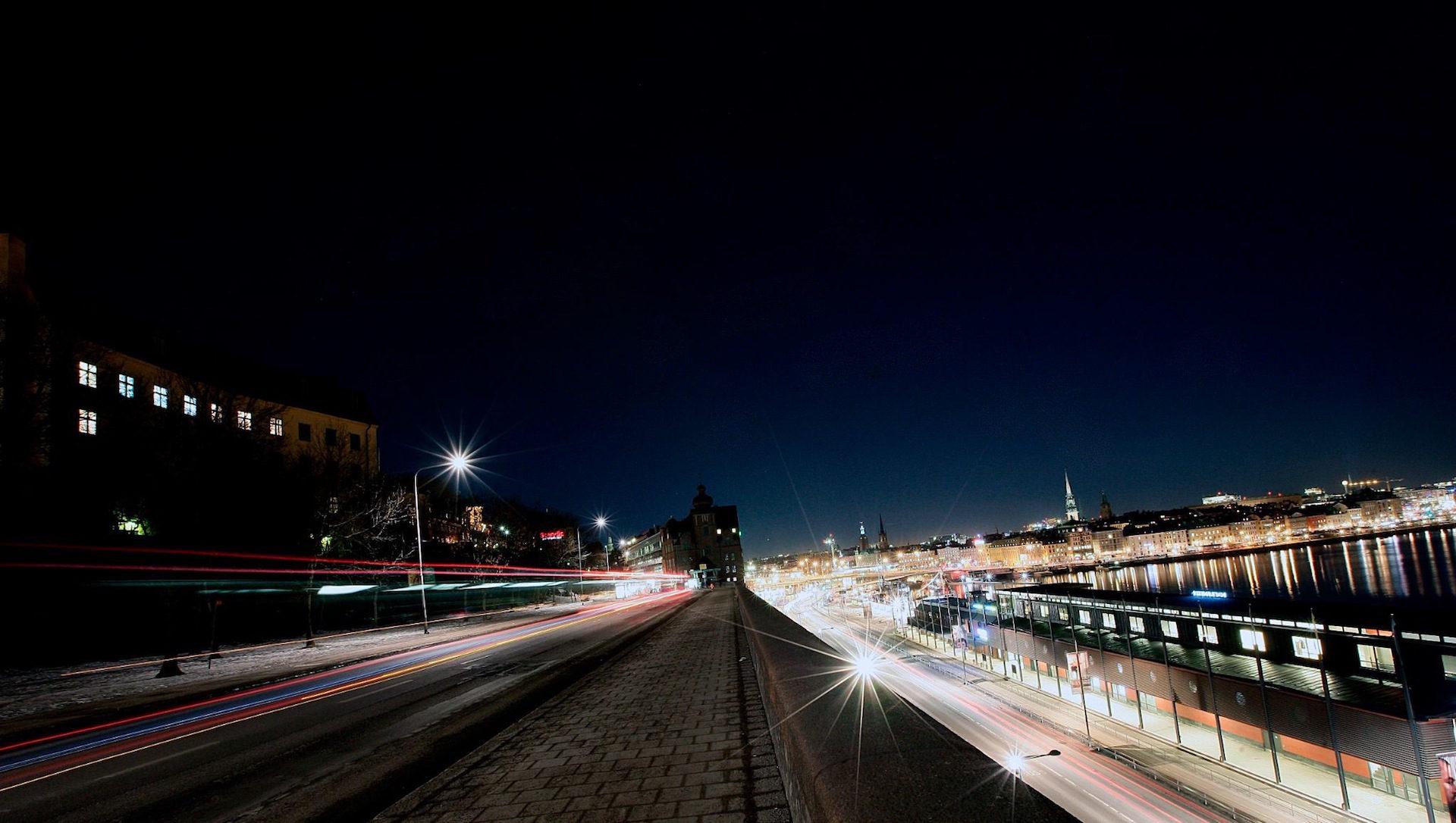 νύχτα, Πόλη, φώτα, tráfico, φωτοστέφανα - Wallpapers HD - Professor-falken.com