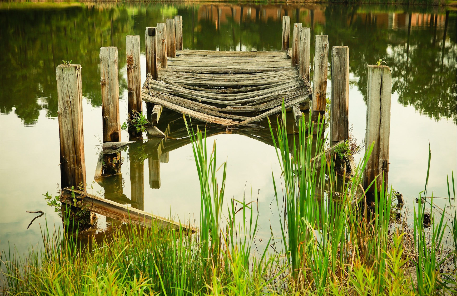 पुल, पुराने, टूट गया, झील, प्रतिबिंब - HD वॉलपेपर - प्रोफेसर-falken.com