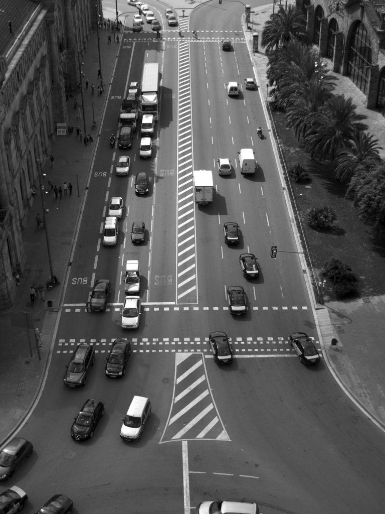 tráfico, ciudad, coches, barcelona, en blanco y negro, 1610212232