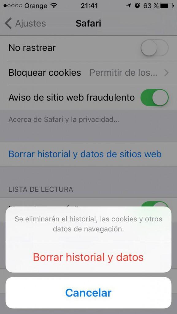 Como borrar el historial, la cache y las cookies, y navegar de forma privada en Safari en el iPhone - छवि 4 - प्रोफेसर-falken.com