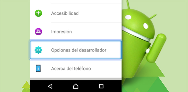 Comment faire pour activer le menu caché des options sur Android Developer
