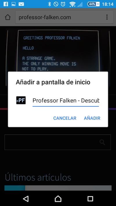 Cómo añadir una web a la Pantalla de Inicio de tu teléfono Android desde Chrome - Image 2 - professor-falken.com