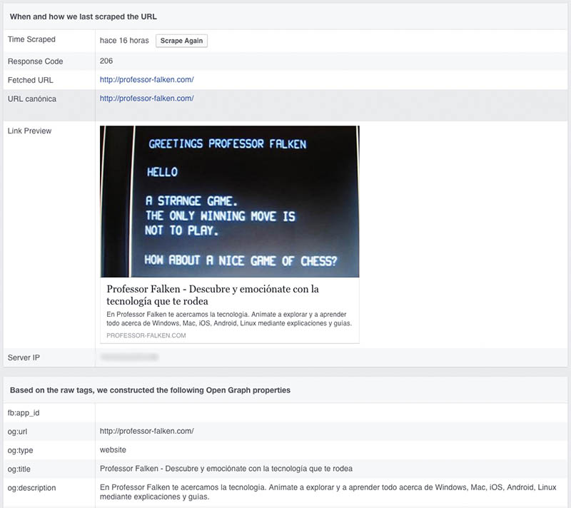 Como limpar ou atualizar o cache de um URL que você já compartilhou no Facebook - Imagem 2 - Professor-falken.com