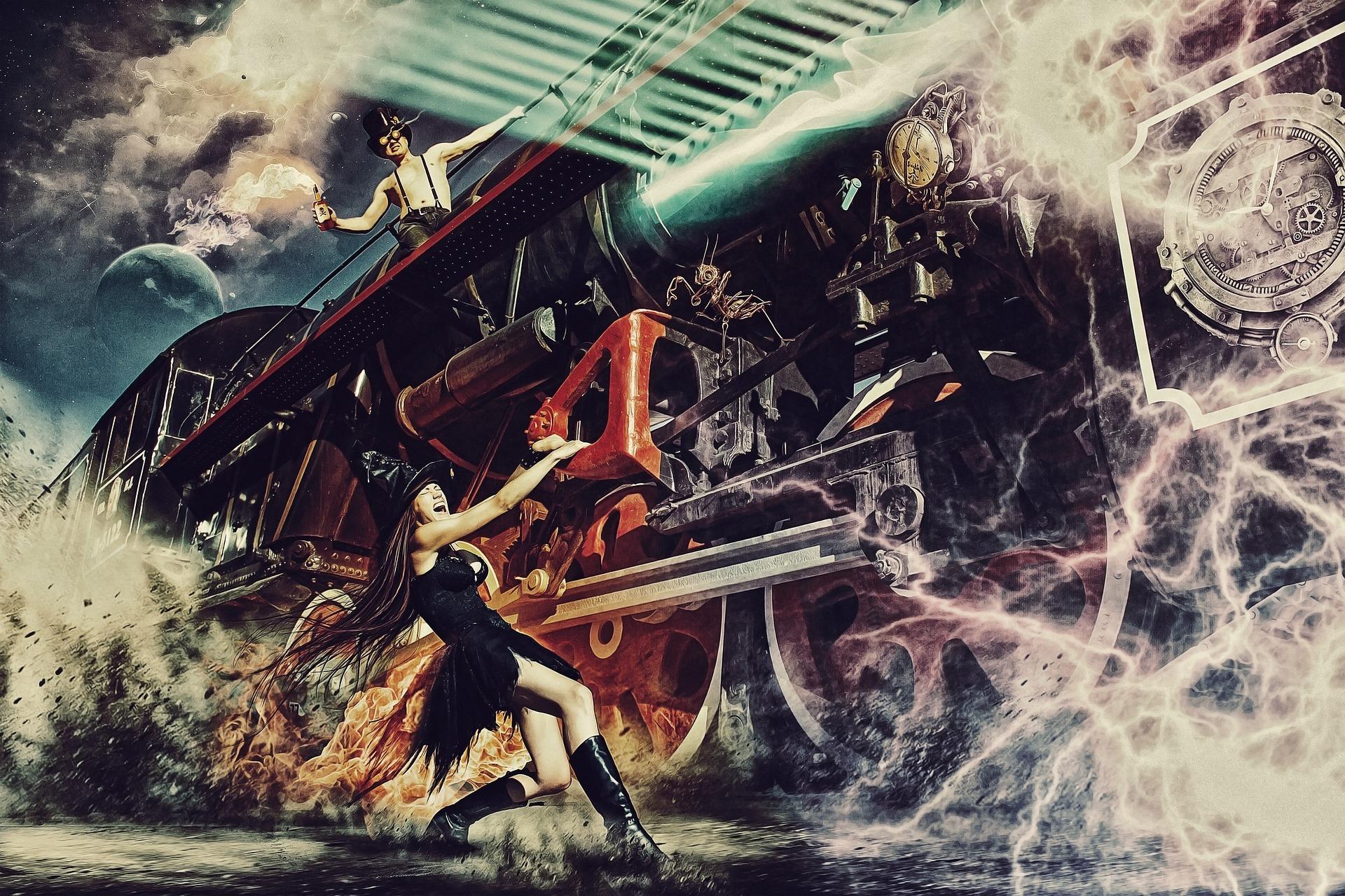 bruxa, trem, fogo, máquina do tempo, surreal, Portal, eletricidade - Papéis de parede HD - Professor-falken.com