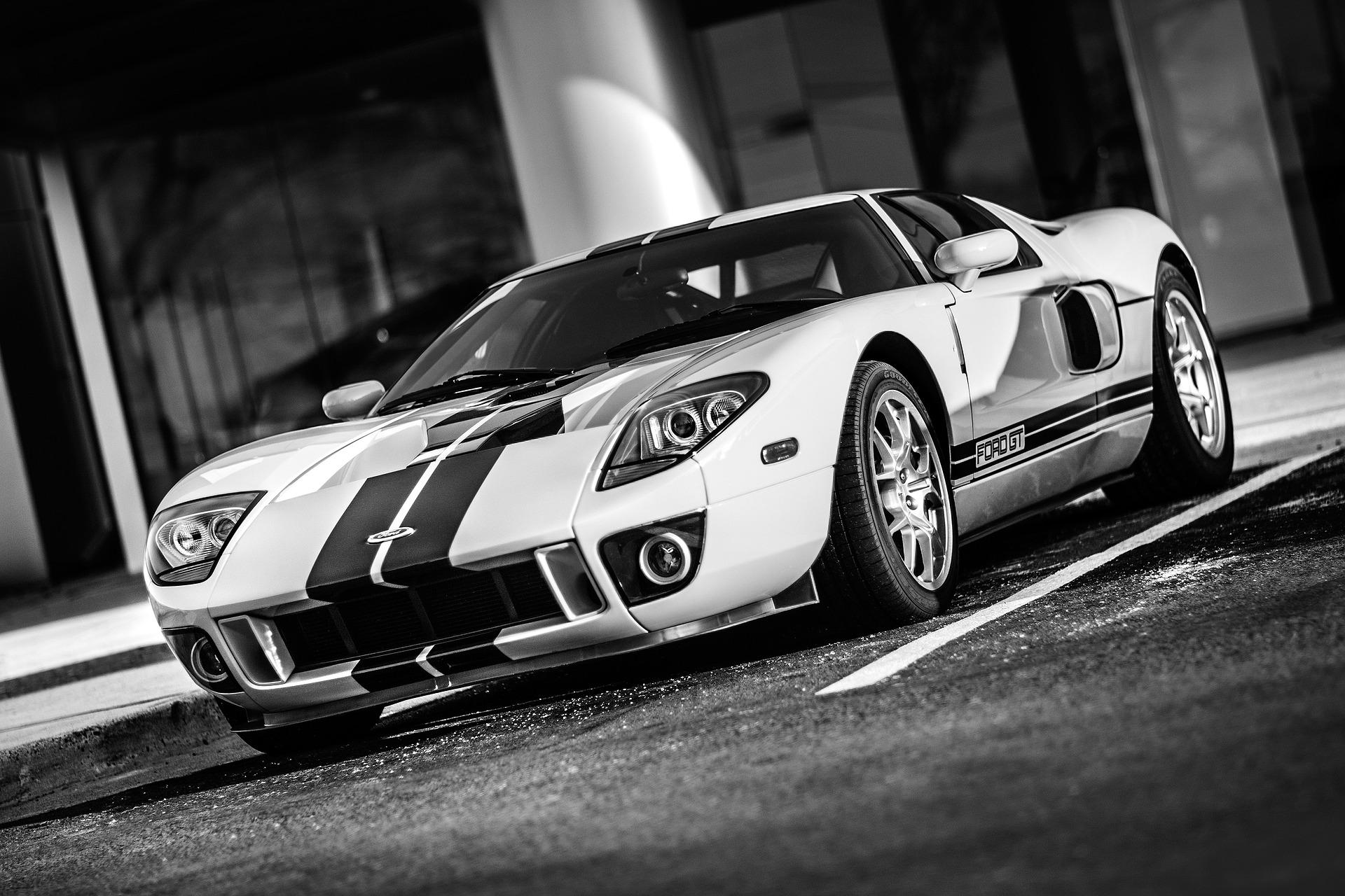 voiture, Ford, GT, Vitesse, automobile, en noir et blanc - Fonds d'écran HD - Professor-falken.com