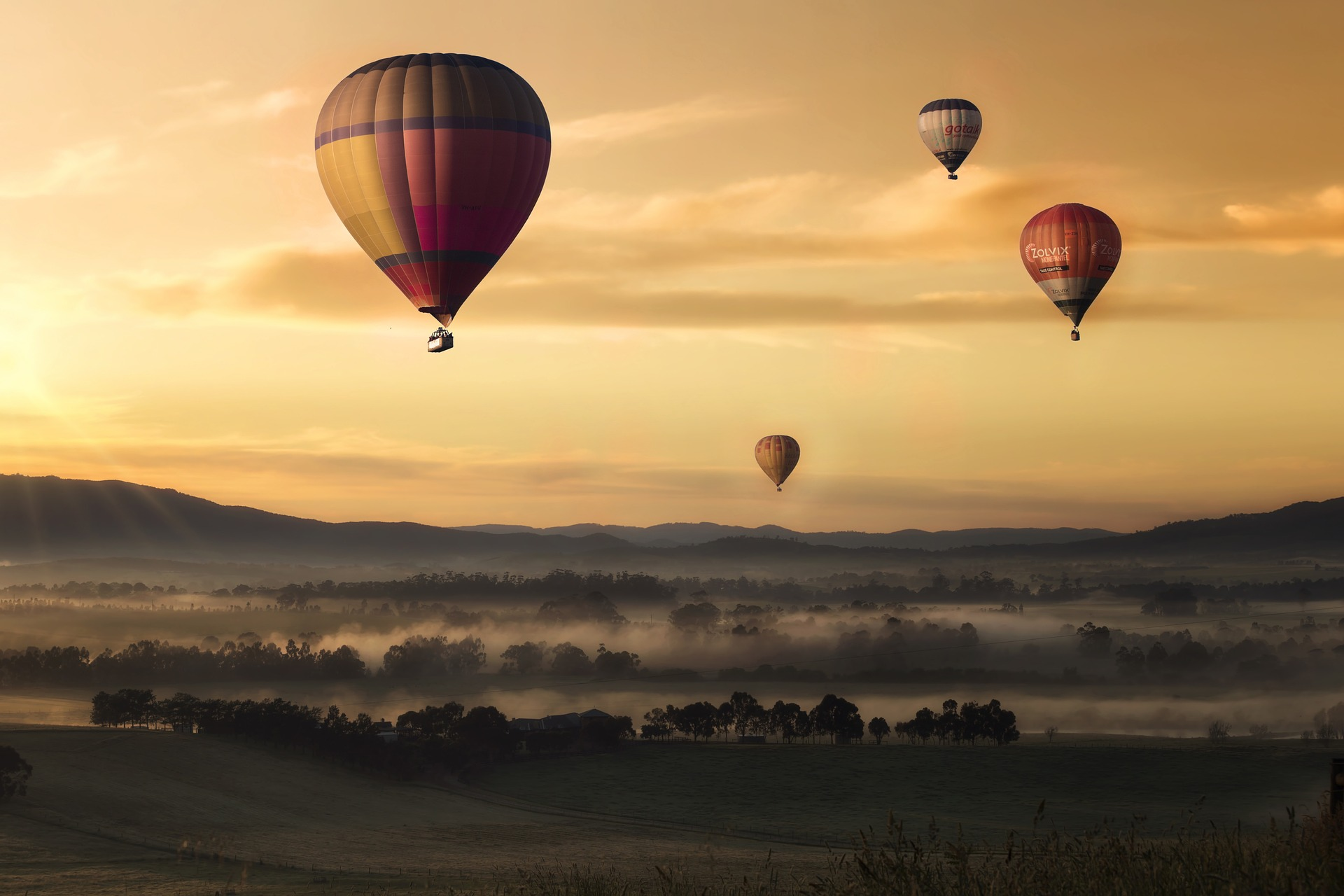 globo, valle, cielo, flotar, amarillo, niebla - Fondos de Pantalla - Professor-falken.com