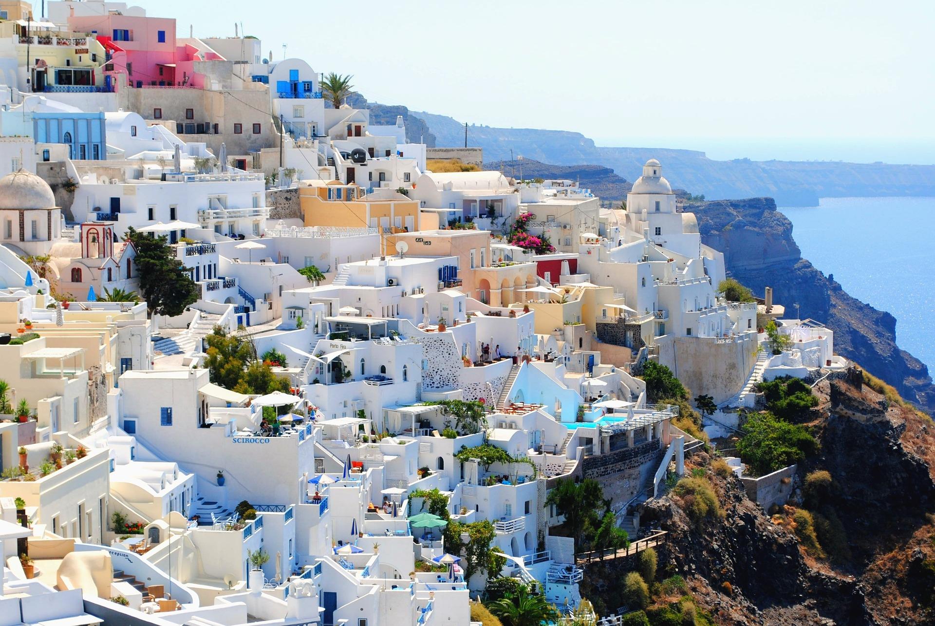 Санторини, Греция, путешествия, праздник, Лето, деревня, Море, Небо, Бегство экран HD обои - Профессор falken.com