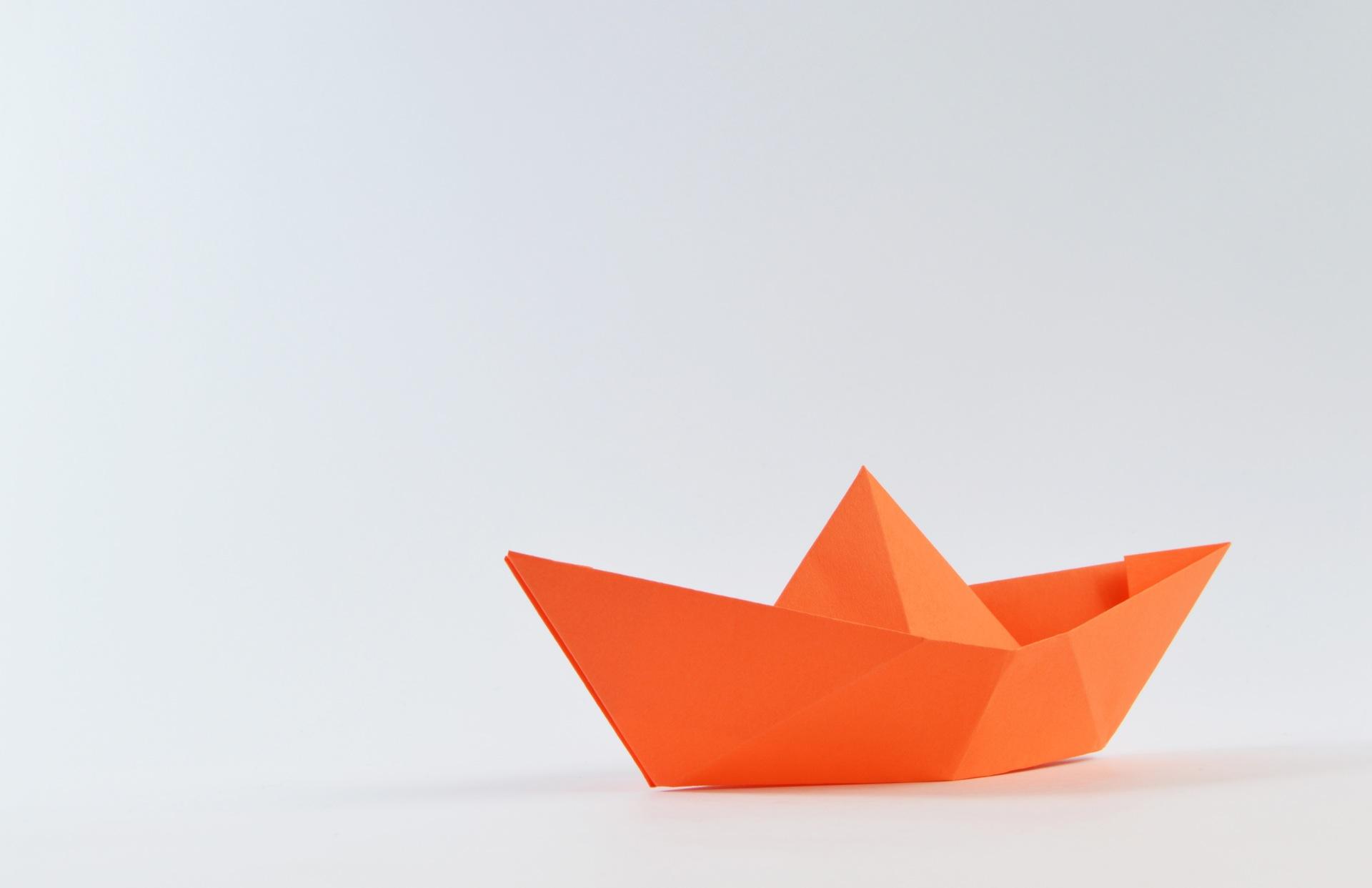 barca, carta, minimalista, Origami, Orange - Sfondi HD - Professor-falken.com