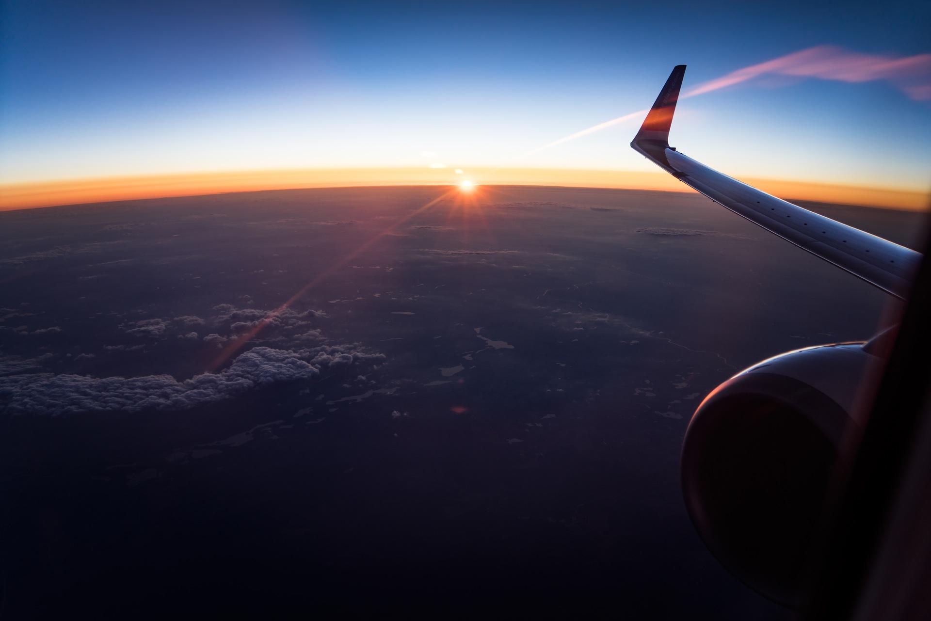 Небо, самолеты, облака, Закат, Солнце, Муха - Обои HD - Профессор falken.com