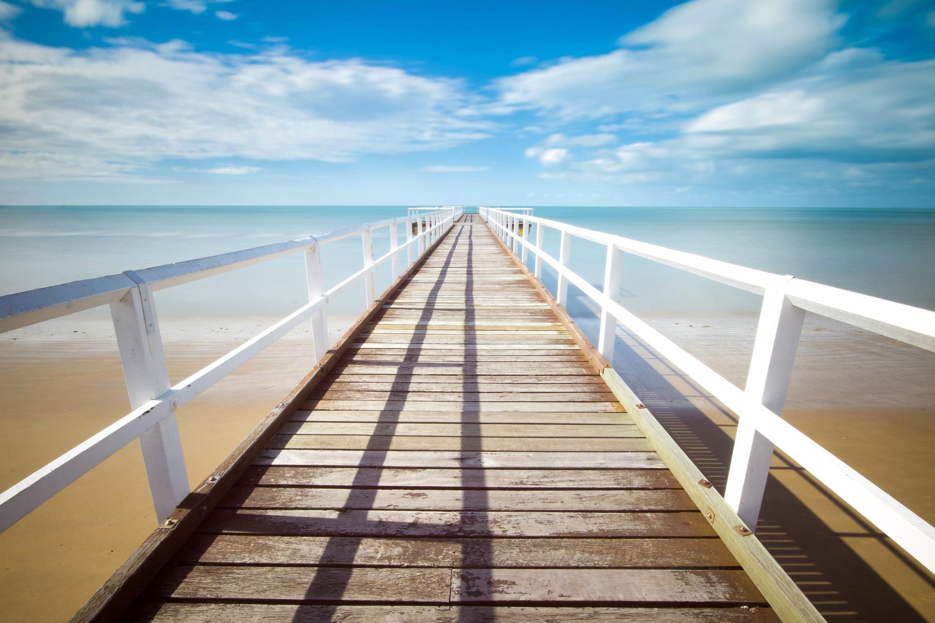 Embarcadero, Praia, Verão, Relaxe, Céu, Mar, água, Azul - Papéis de parede HD - Professor-falken.com