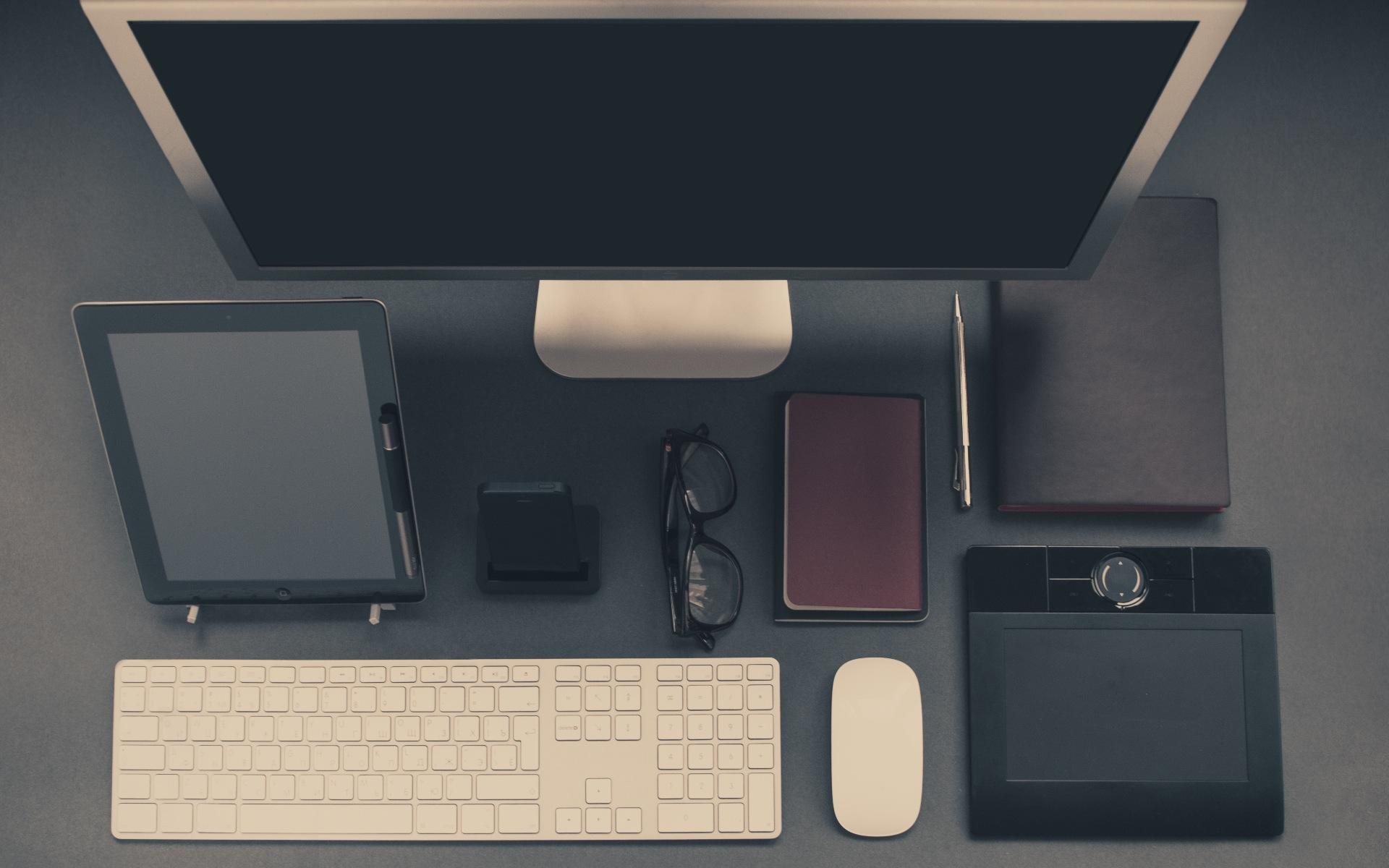 デスクトップ, 事務所, コンピューター, Mac, タブレット, 計算されました。, iPhone, キーボード, マウス - HD の壁紙 - 教授-falken.com