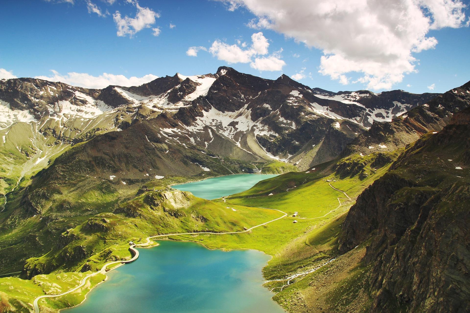 montagnes, Pradera, Lake, neige, Italie, paysage, Vue aérienne - Fonds d'écran HD - Professor-falken.com