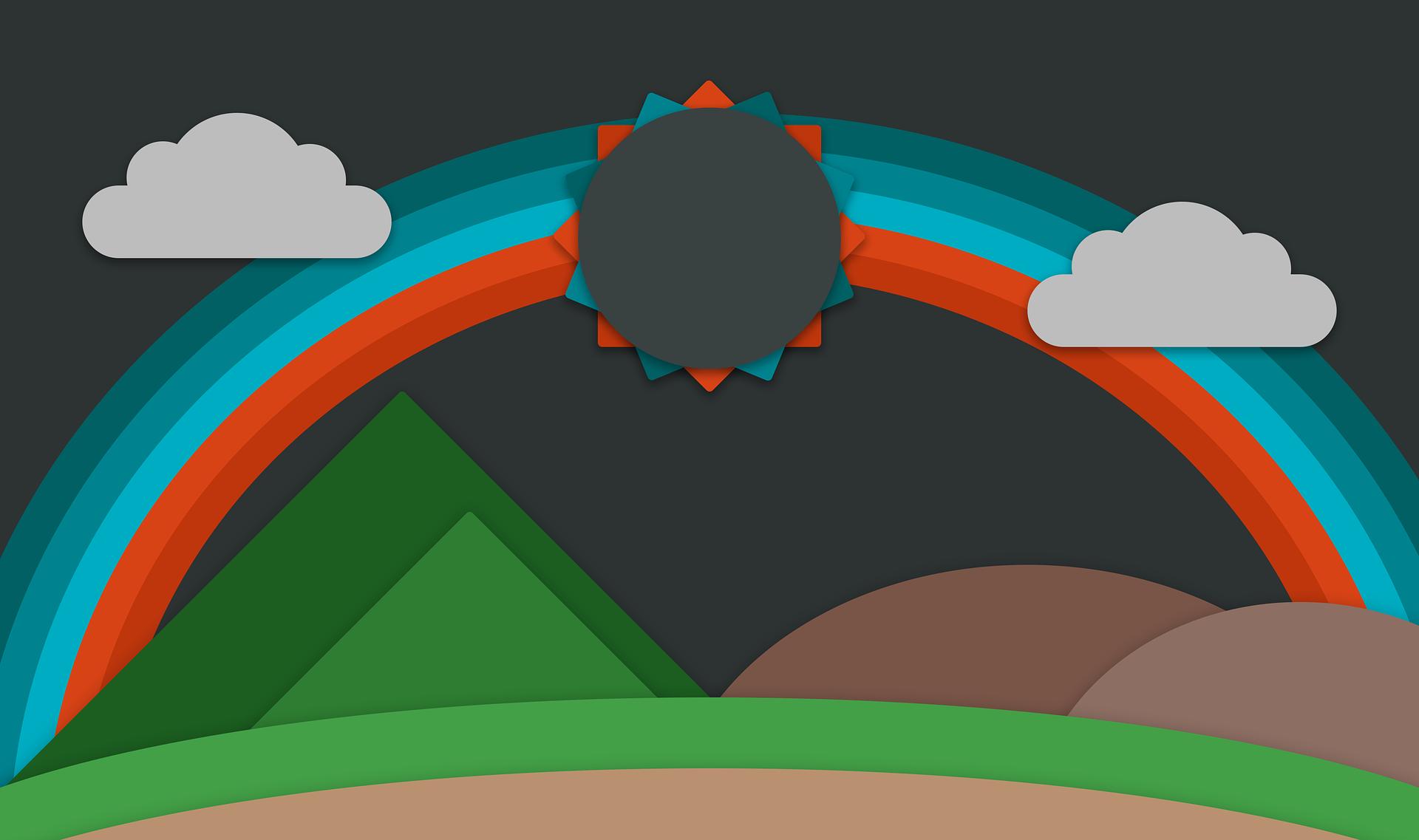 Regenbogen, Sonne, Berge, flaches design, Wolken - Wallpaper HD - Prof.-falken.com
