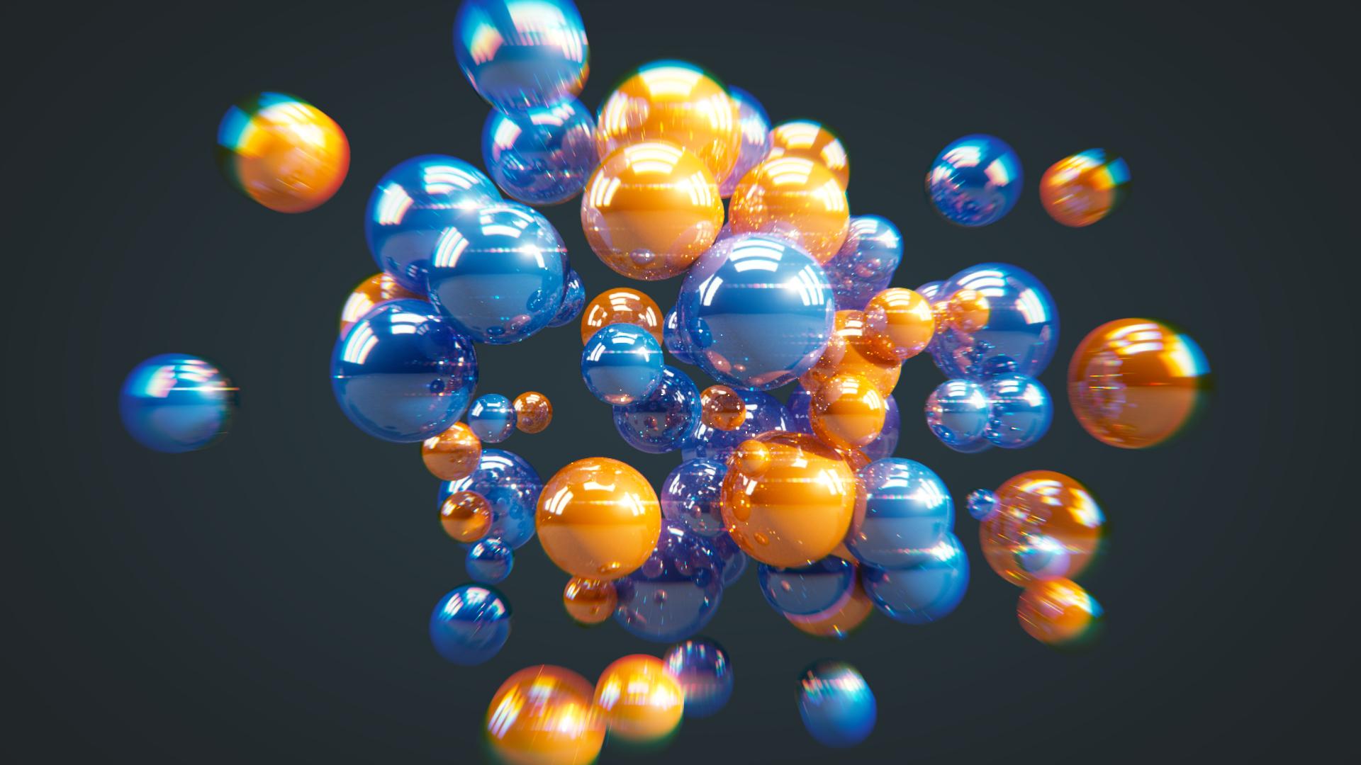 bolas, brillos, 3D, infográfico, azul, naranja - Fondos de Pantalla HD - professor-falken.com