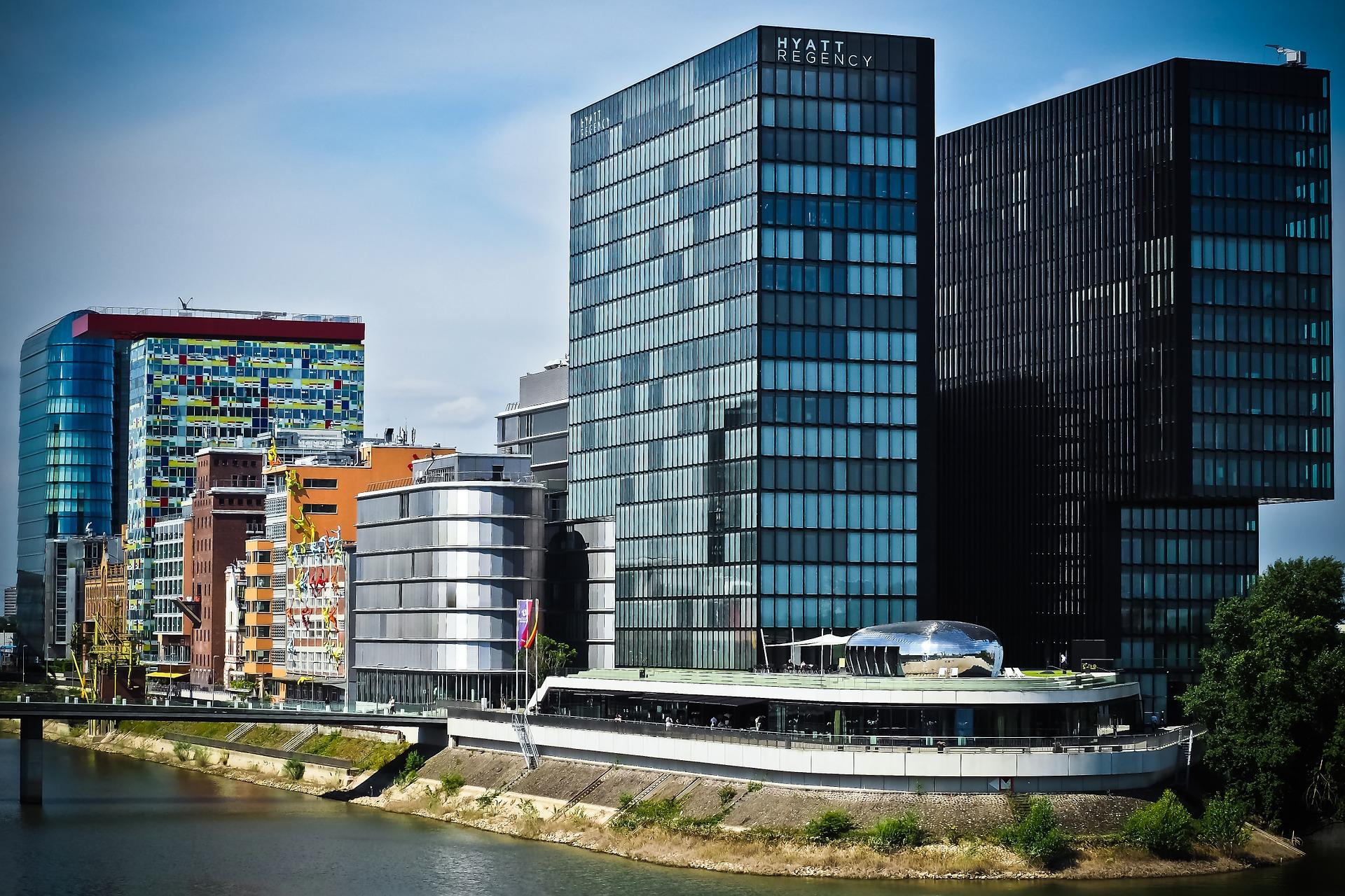 bâtiments, Ville, architecture, port, Düsseldorf - Fonds d'écran HD - Professor-falken.com