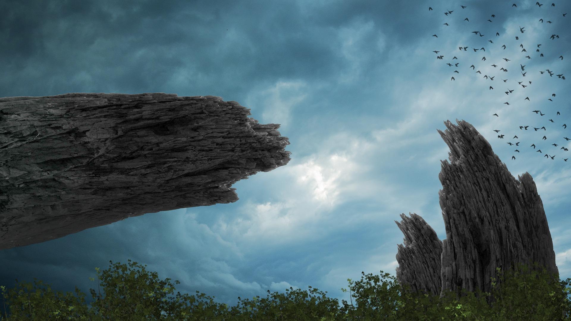 काल्पनिक, Rocas, पहाड़ों, पक्षी, पेड़ - HD वॉलपेपर - प्रोफेसर-falken.com