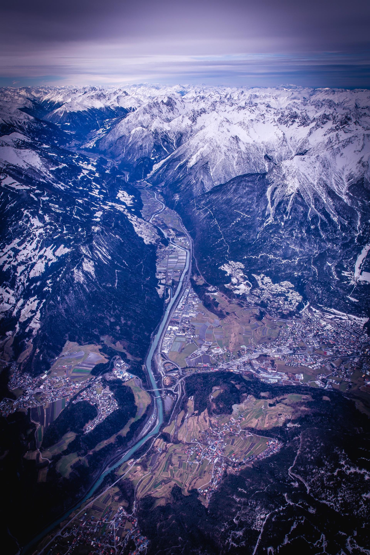 Вид сверху, горы, Пицца, снег, Небо - Обои HD - Профессор falken.com