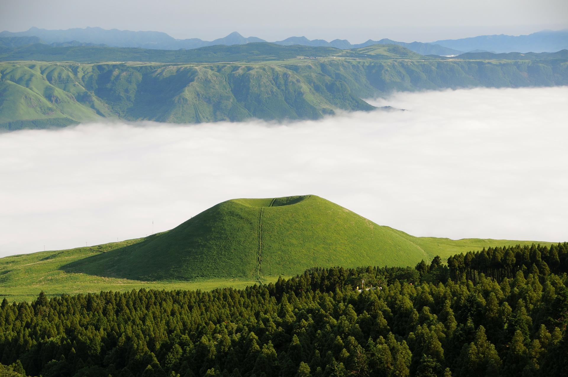 Асо komezuka, облака, горы, Море, Япония - Обои HD - Профессор falken.com