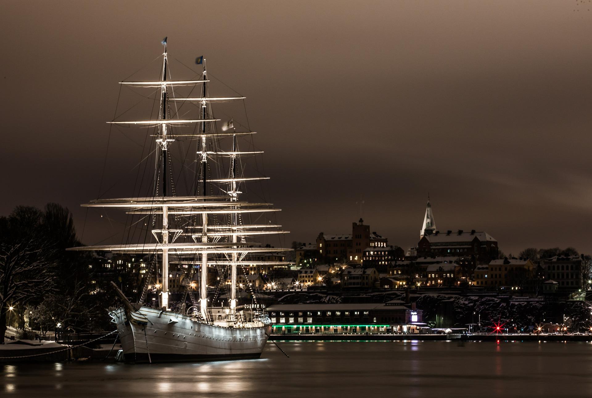 barco, noche, estocolmo, navegar, puerto - Fondos de Pantalla HD - professor-falken.com