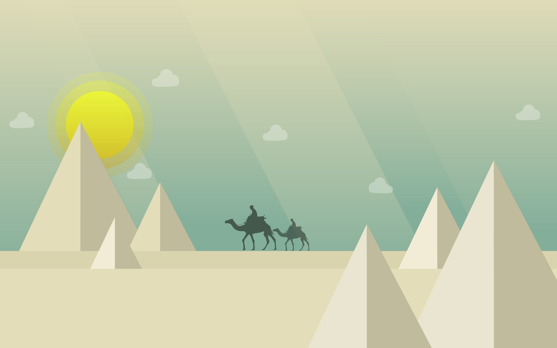 désert, chameaux, pyramides, Sun, nuages - Fonds d'écran HD - Professor-falken.com