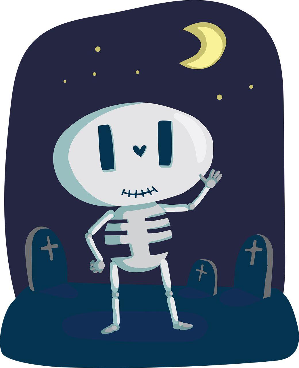 esqueleto, tumbas, cementerio, luna, huesos - Fondos de Pantalla HD - professor-falken.com